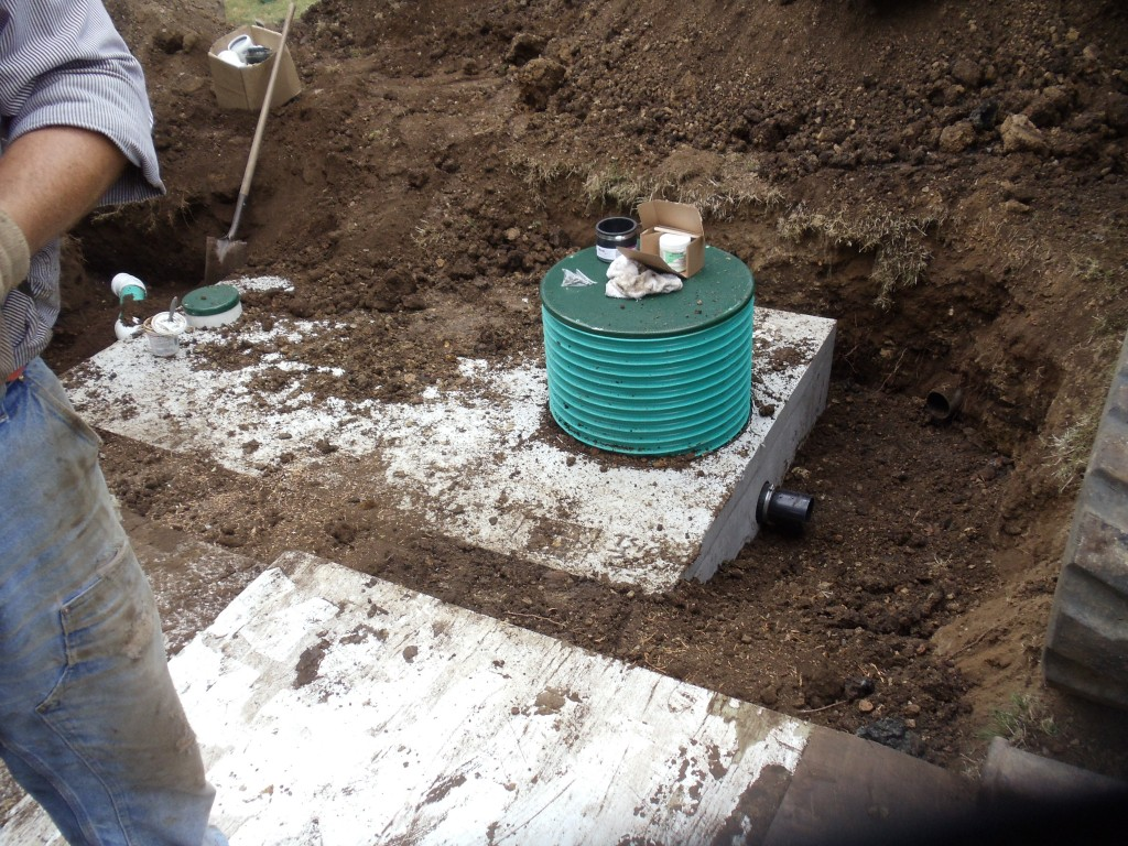 Tank installed and nearly ready for back fill.