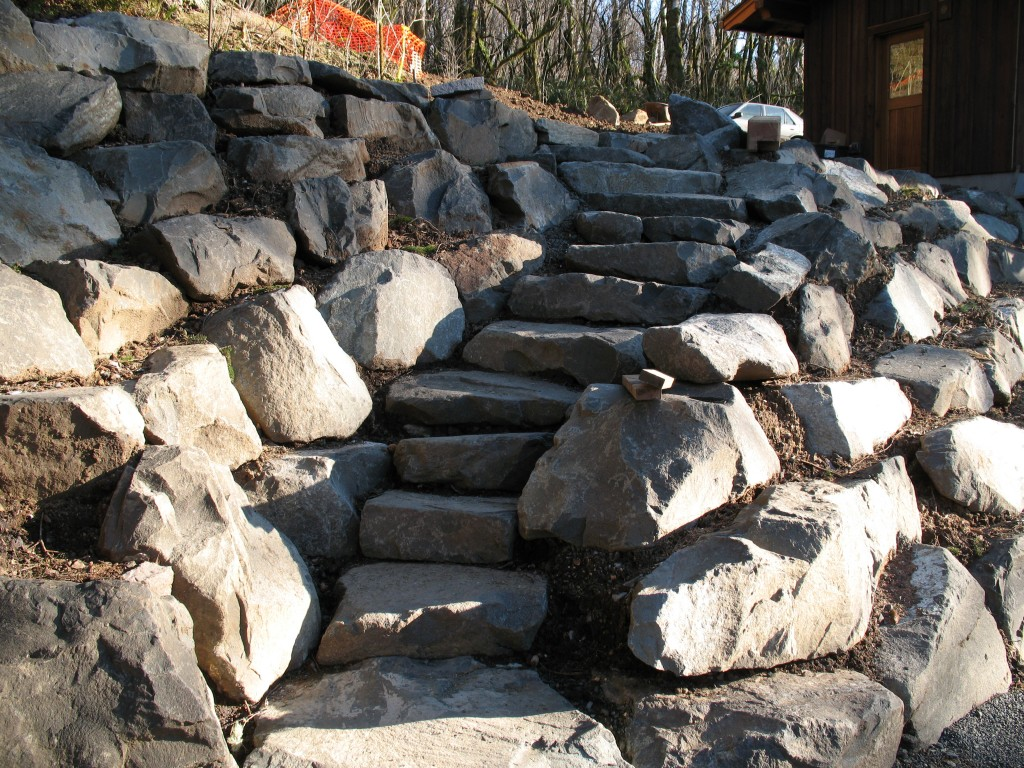 Rock Wall and Stairs